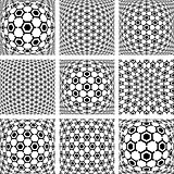 Hexagons patterns. Abstract backgrounds set.