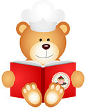 Teddy bear reading cookbook