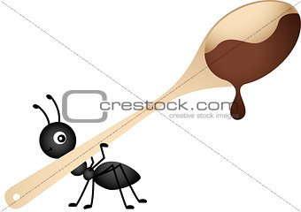 Ant carrying a wooden spoon with chocolate
