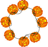 Circular frame with Halloween pumpkins