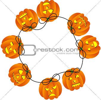Circular frame with Halloween pumpkins