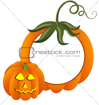 Scalable vectorial image representing a Halooween pumpkin photo frame, isolated on white.