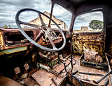 Inside of old and rusty truck cab