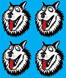 husky dog cartoon portrait design vector illustration