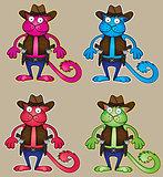 cartoon cowboy cat with gun vector illustration