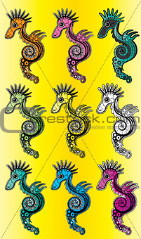 cartoon textured colored sea horse vector illustration