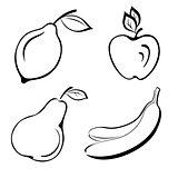 Set fruits, black contours
