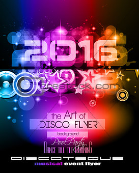 2016 New Year's Party Flyer for Club Music Nights