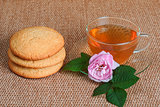 tea, biscuit and tea rose