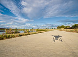 shadow of hexacopter drone flying