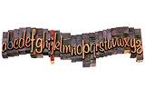 alphabet in letterpress script wood type