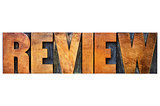 review word in letterpress wood type