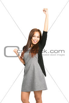 Celebrating Asian Female Fist Pumping Arm Raised