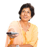 Indian mature woman watching tv