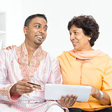Indian family using online internet payment