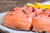 Raw Salmon Fish Fillet with Lemon and Spices