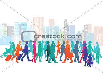Cityscape with people