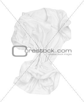 blank white T-shirt on the move in the air on an isolated white