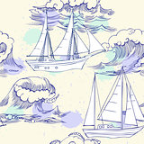 Seamless pattern with waves and ships-05