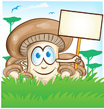 mushroom cartoon with signboard on  forest background