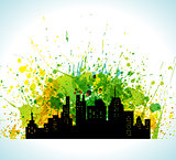 Color Paint Splashes Eco Green City Silhouette Background. Background