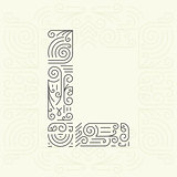 Vector Mono Line style Geometric Font Your for Text, Slogan, Template or Advertising. Golden Monogram Design element for Labels and Badges. Letter L
