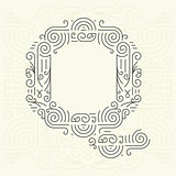 Vector Mono Line style Geometric Font Your for Text, Slogan, Template or Advertising. Golden Monogram Design element for Labels and Badges. Letter Q