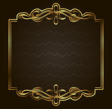Calligraphic Retro vector gold frame on dark background. Premium design element