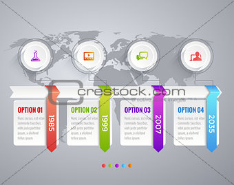 Timeline Infographic with diagrams, data options and text. World Map. Icons