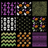 Vector Colorful Sketched Doodle Halloween Patterns Set
