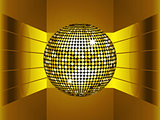 Golden disco ball on golden metallic environment