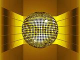 Golden disco ball on golden metallic environment