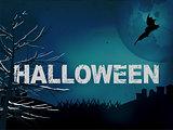 Halloween creepy dark blue background