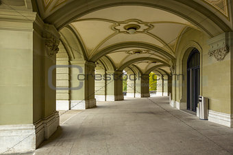 arcade of Federal Palace of Switzerland in the Bern