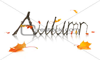 Autumn Word Made from Maple Branches