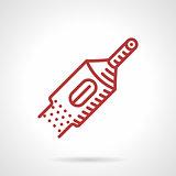 Red line tattoo machine tube. Vector icon