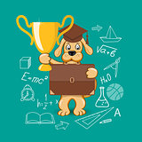 banner for education with cartoon dog