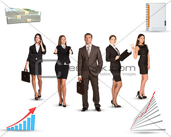 Group of business people with graphs