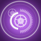 Cog wheels on purple