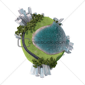 Business city with grass on Earth
