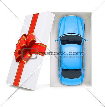 Car in gift box on white, top view