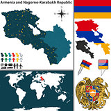 Map of Armenia and Nagorno Karabakh