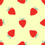 Seamless natural color pattern of red strawberries