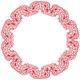 round lacy frame on a white background