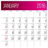 January 2016 planning calendar