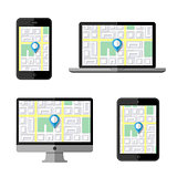 Navigation concept. Flat icons. Vector illustration.