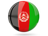 Round icon with flag of afghanistan
