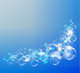 Abstract blue background. Air bubbles. .
