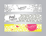 Banners set with hand drawn bubbles or drops on background.