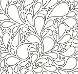 Seamless pattern with bubbles or drops. Black and white. Background.